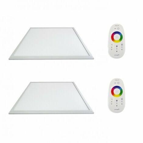 LOT 2 x Dalles LED Blanc 600 x 600 40W RGB + Télécommandes RF Plafonnier Eclairage Couleur