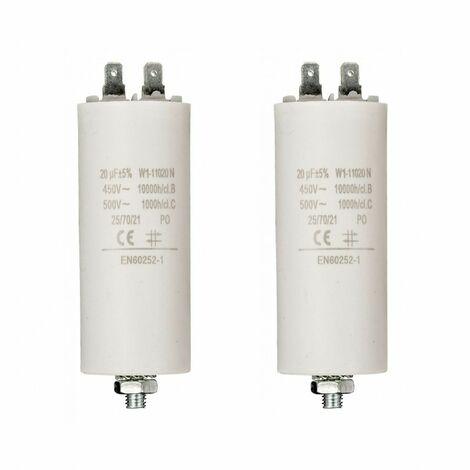 LOT 2 x FIXAPART Condensateur 20.0uf / 450 v à Cosses Condo 20mf