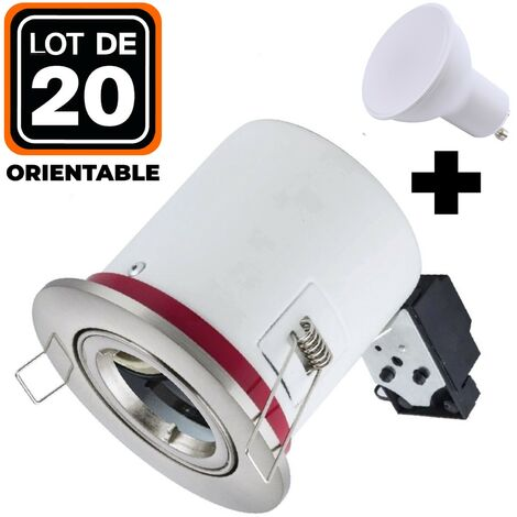 Lot 20 Supports Spots BBC Orientable INOX + Ampoule GU10 7W Blanc Chaud + Douille