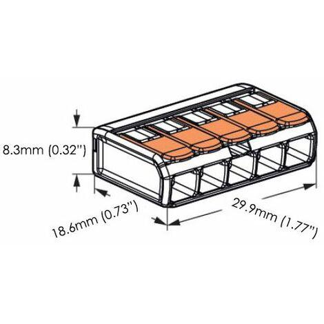 Borne de connexion WAGO-COMPACT 221-612 2/fils avec levier de commande jusqu/à 6/mm2