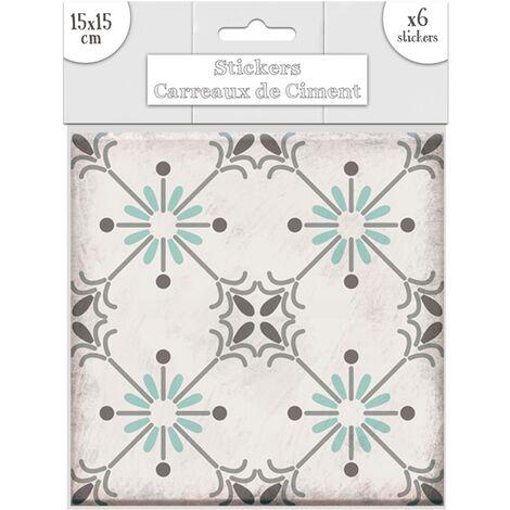 Lot 2x 6 Stickers carreaux de ciment Soleil - 15 x 15 cm - Vert - Vert