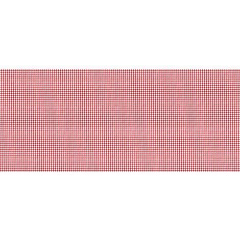 Lot 2x Adhésif décoratif pour meuble vintage effet Vichy - 200 x 45 cm - Rouge - Rouge