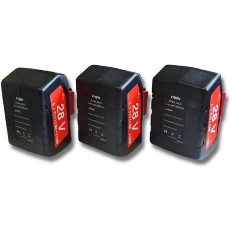 Lot 3 batteries Li-Ion vhbw 2000mAh (28V) pour outils Milwaukee scie à ruban V28 SXetc.. Remplace: 48-11-1830 , 48-11-2830, 48-11-2850.