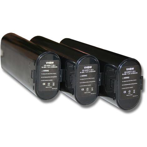 Lot 3 batteries Ni-MH vhbw 2100mAh (7.2V) pour outils Makita 6012DL, 6012DW, 6012DWK, 6015DWE comme Einhell 91011, Makita 191679-9, 192532-2, 192695-4