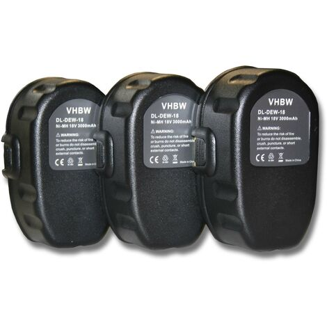 Lot 3 batteries vhbw 3000mAh (18V) pour outils Dewalt DC390B, DC390K, DC390KA, DC390KB, DC390N, DC410. Remplace:Dewalt DC9096, DE9039, DE9095, DE9096.