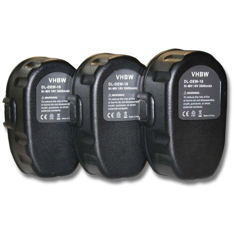Lot 3 batteries vhbw 3000mAh (18V) pour outils Dewalt DW960B, DW960K, DW960K-2, DW987, DW987KQ, DW988. Remplace: Dewalt DC9096, DE9039, DE9095, DE9096