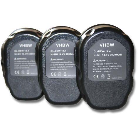 Lot 3 batteries vhbw 3000mAh pour outils Dewalt DC614KA, DC615KA, DC728KA, DC731KA, DC735KA, DC735KB. Remplace: Dewalt DC9091, DE9038, DE9091, DE9092