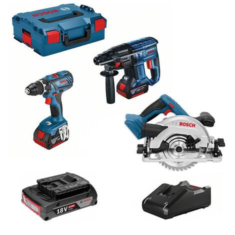 Lot 3 machines 18V Perceuse GSR-28 + Perforateur GBH-21+ Scie circulaire GKS-57G + 3 batteries BOSCH - LBH2