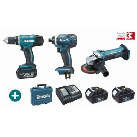Lot 3 machines MAKITA 18V 3 Batteries 3Ah + Chargeur + Perceuse Visseuse DDF453 + Visseuse à Choc DTD152 + Meuleuse DGA452 - LMK2
