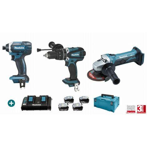 Lot 3 machines MAKITA 18V 4 Batteries 5Ah + Chargeur Double + Perceuse Visseuse DHP458 + Visseuse à Choc DTD152 + Meuleuse DGA452Z - LMK11