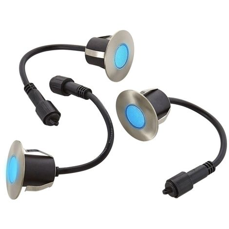 Lot 3 Mini Spot encastrable rond 6cm Inox Mini DECK Light 1.2W par spotW LED integrés IP67 Bleu extérieur EASY CONNECT - 654