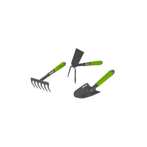Lot 3 outils fleurs Primoland serfouette, rateau, transplantoir