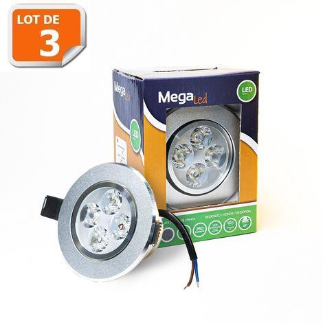 Lot 3 Spots encastrables LED amovibles Argent 5W - Equivalent 50W - Mega Led CLIRS50W