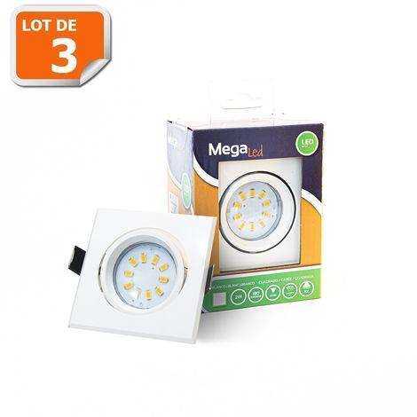 Lot 3 Spots encastrables LED amovibles Blanc 2W - Equivalent 50W - Mega Led CL10GU-SW50W