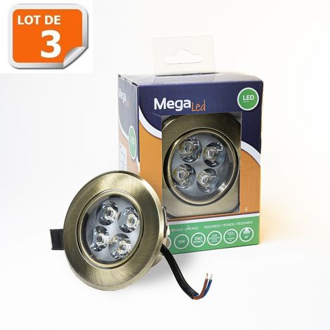 Lot 3 Spots encastrables LED amovibles Bronze 5W - Equivalent 50W - Mega Led CLI-RB50W