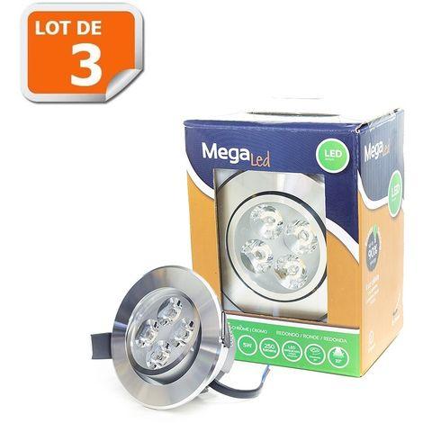 Lot 3 Spots encastrables LED amovibles Chrome 5W - Equivalent 50W - Mega Led CLI-RC50W