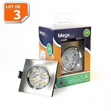 Lot 3 Spots encastrables LED amovibles Chrome 5W - Equivalent 50W - Mega Led CLISC50W