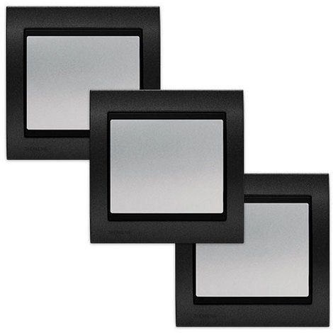 LOT 3 Va et Vient Silver Delta Iris + Plaque Métal texturé Alu Noir - SIEMENS