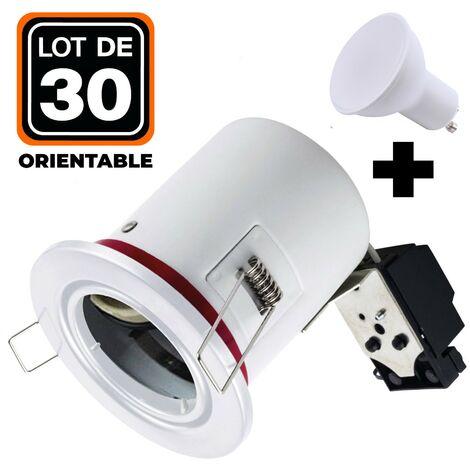 Lot 30 Spots BBC Orientable Blanc + Ampoule GU10 7W Blanc Chaud + Douille
