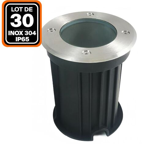 Lot 30 Spots Encastrable de Sol Rond Inox 304 Exterieur IP65 GU10