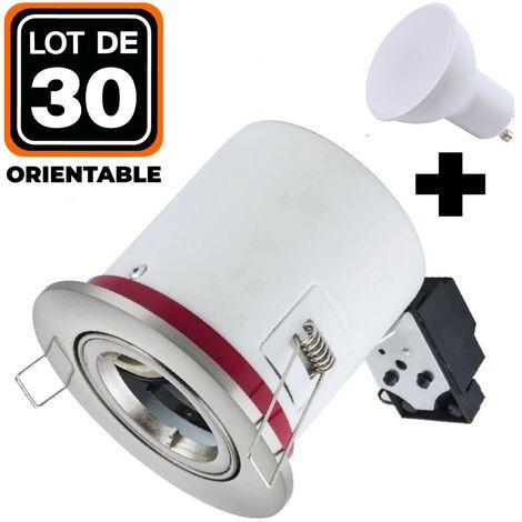 Lot 30 Supports Spots BBC Orientable INOX + Ampoule GU10 7W Blanc Chaud + Douille
