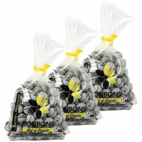 Lot 3x Bonbons au miel et propolis - Monts du Lyonnais - Rhône Alpes - Le Rucher de Macameli - sachet 125g