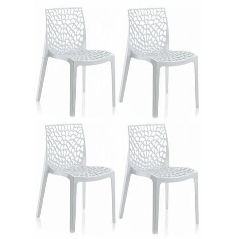 Lot 4 chaises ajourées empilables Blanches - GRUYER - Blanc
