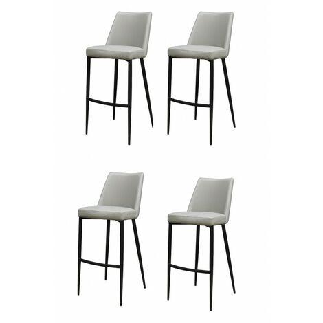 lot 4 Chaises de bar grise en simili - MOON - Gris
