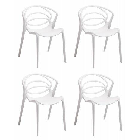 Lot 4 chaises de designers confort blanches - GINA - Blanc