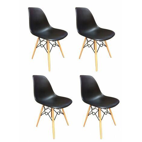 Lot 4 chaises design confort Black - RETRO - Noir