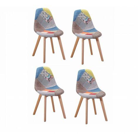 Lot 4 chaises en tissu chiné Patchwork - SANDY - Multicolore