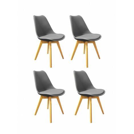 Lot 4 chaises GRISES ET BOIS style scandinave - LIDY - Gris