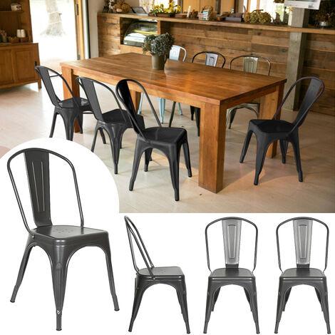 Lot 4 Chaises Industrielles en Métal avec Dossier Détachable Chaises pour Bistrot Salle à Manger Bar Café 45 x 85CM Gris - Gris
