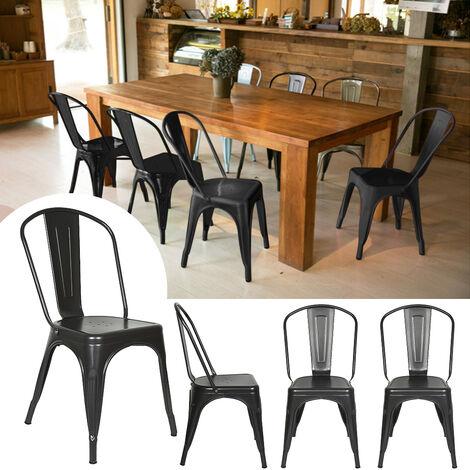 Lot 4 Chaises Industrielles en Métal avec Dossier Détachable Chaises pour Bistrot Salle à Manger Bar Café 45 x 85CM Noir