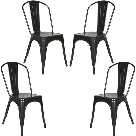 Lot 4 Chaises Industrielles en Métal avec Dossier Détachable Chaises pour Bistrot Salle à Manger Bar Café 45 x 85CM Noir - Noir