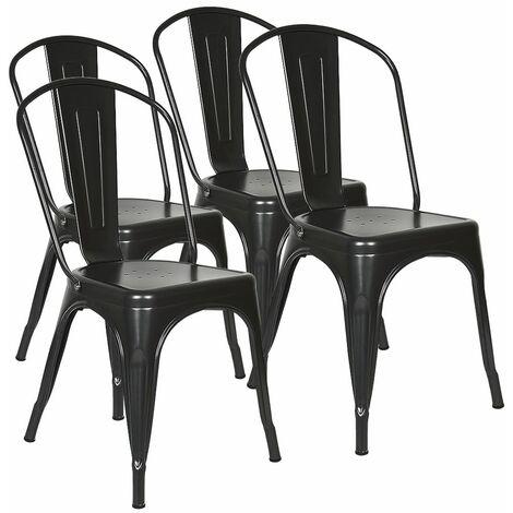 Lot 4 Chaises Industrielles en Métal avec Dossier noir 85 * 45 * 45cm
