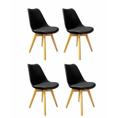 Lot 4 chaises NOIRES ET BOIS - LIDY - Noir