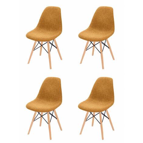 Lot 4 chaises orange tissu & bois de hêtre - RETRO - Orange
