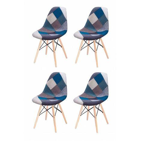 Lot 4 chaises Patchwork Bleu tissu & bois de hêtre - RETRO - Bleu