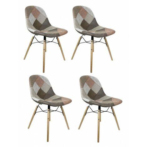 Lot 4 chaises patchwork taupe effet vieux cuir doux - SIMON - Marron