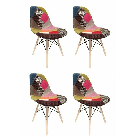Lot 4 chaises Patchwork tissu & bois de hêtre - RETRO - Multicolore