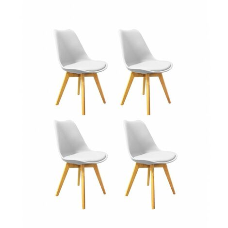 Lot 4 chaises style scandinave assise blanche - LIDY - Blanc
