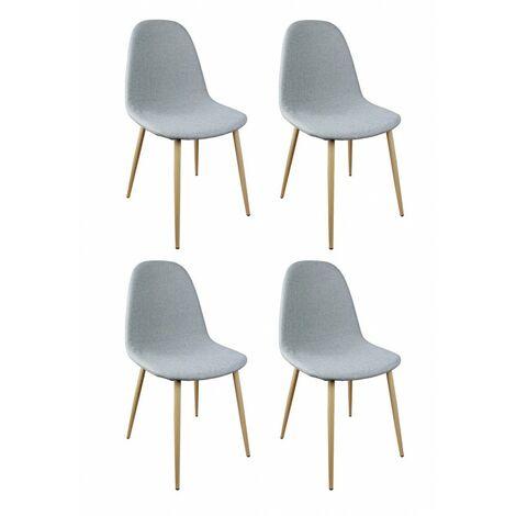 Lot 4 chaises tissu gris pieds métal imitation bois - EMMA - Gris