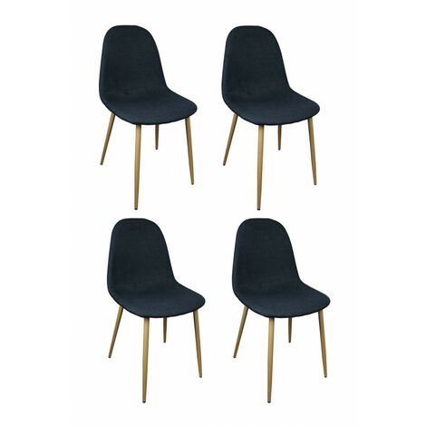 Lot 4 chaises tissu noir / bleu marine - EMMA