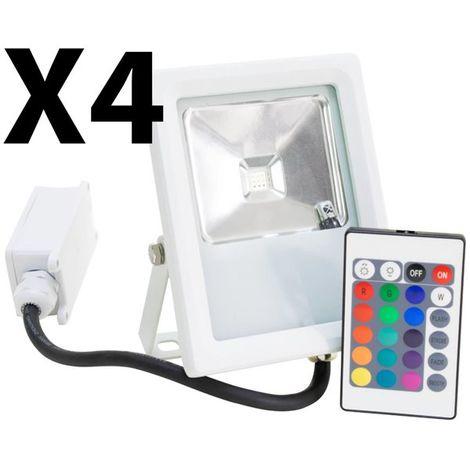 Lot 4 Projecteurs Spot LED extérieur Eclairage RGB couleur avec télécommande