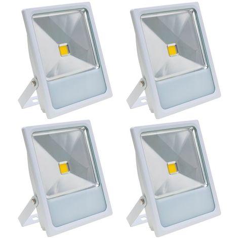 Lot 4 Projecteurs Spot LED extérieur extra plat 50 W Eclairage blanc chaud