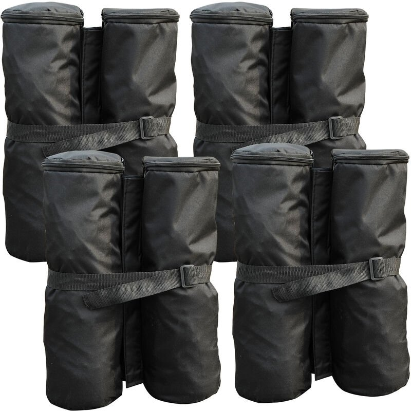 Lot 4 sacs de lestage de fixation pour tonnelle parasol pavillon volume max. 15kg noir