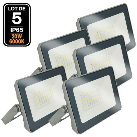 Lot 5 Projecteurs LED 20W ProLine Blanc froid 6000K Haute Luminosité