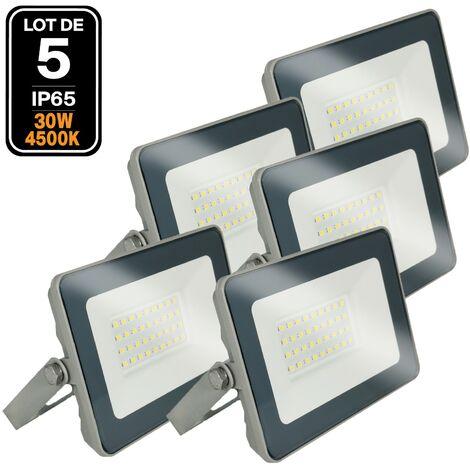 Lot 5 Projecteurs LED 30W ProLine 4500K Haute Luminosité