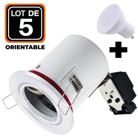 Lot 5 Spots BBC Orientable Blanc + Ampoule GU10 5W Blanc Chaud + Douille
